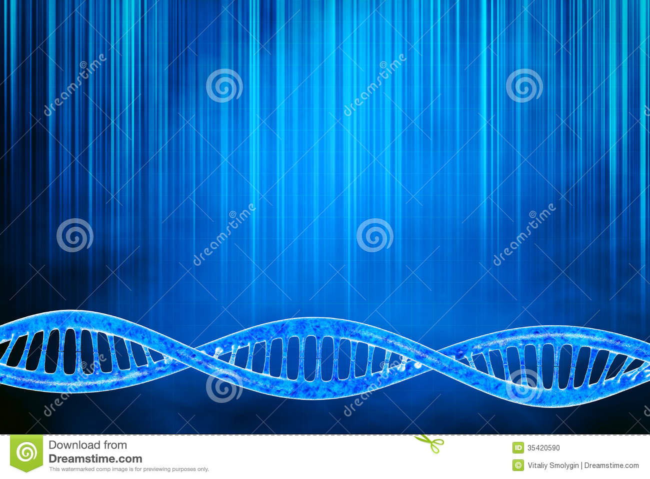 Digital 3d illustration of a dna in beautiful background