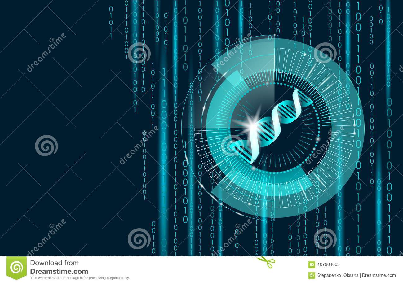DNA binary code future computer technology concept. Genome science structure modified GMO engineering molecular symbol