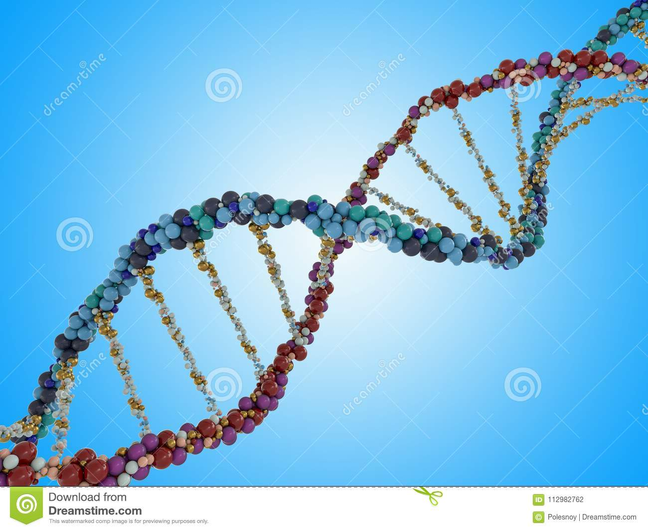 DNA chain. Abstract scientific background. 3D rendering