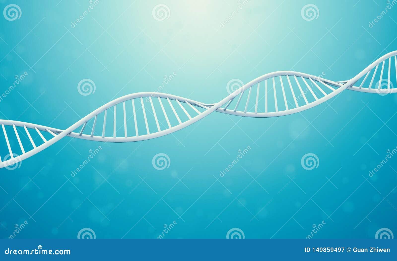 DNA 3d in der blauen Flüssigkeit
