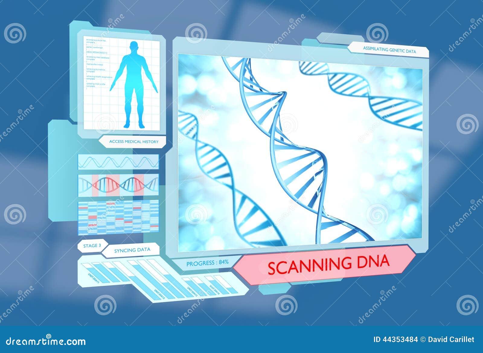 DNA futuristico che esplora procedura medica per il controllo della salute