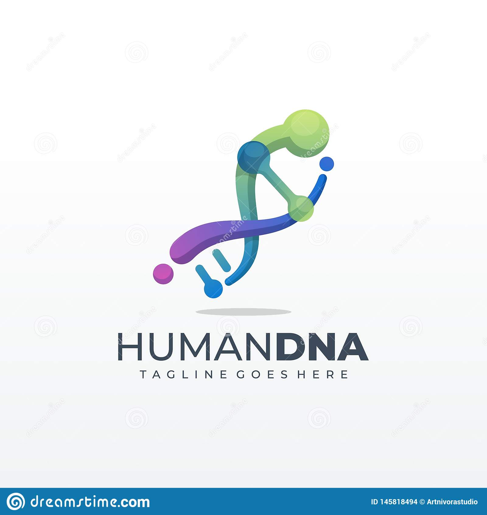 DNA genetic symbol running and jumping man icon Template