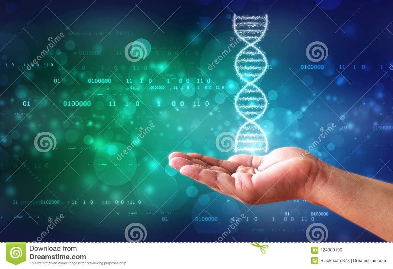 DNA and genetics research concept, medical abstract background