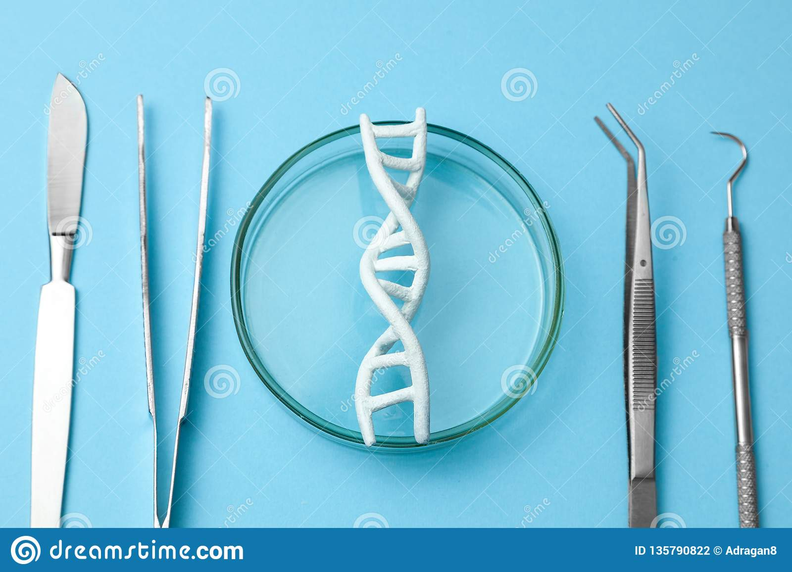 DNA helix research. Concept of genetic experiments on human biological code DNA. Medical instrument scalpel and forceps.