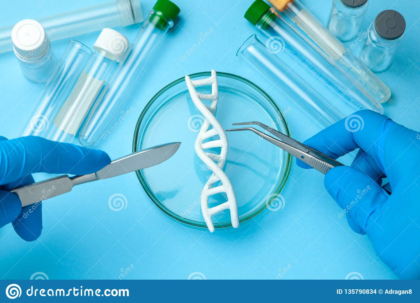 DNA helix research. Concept of genetic experiments on human biological code. Medical instrument scalpel and forceps and test tubes