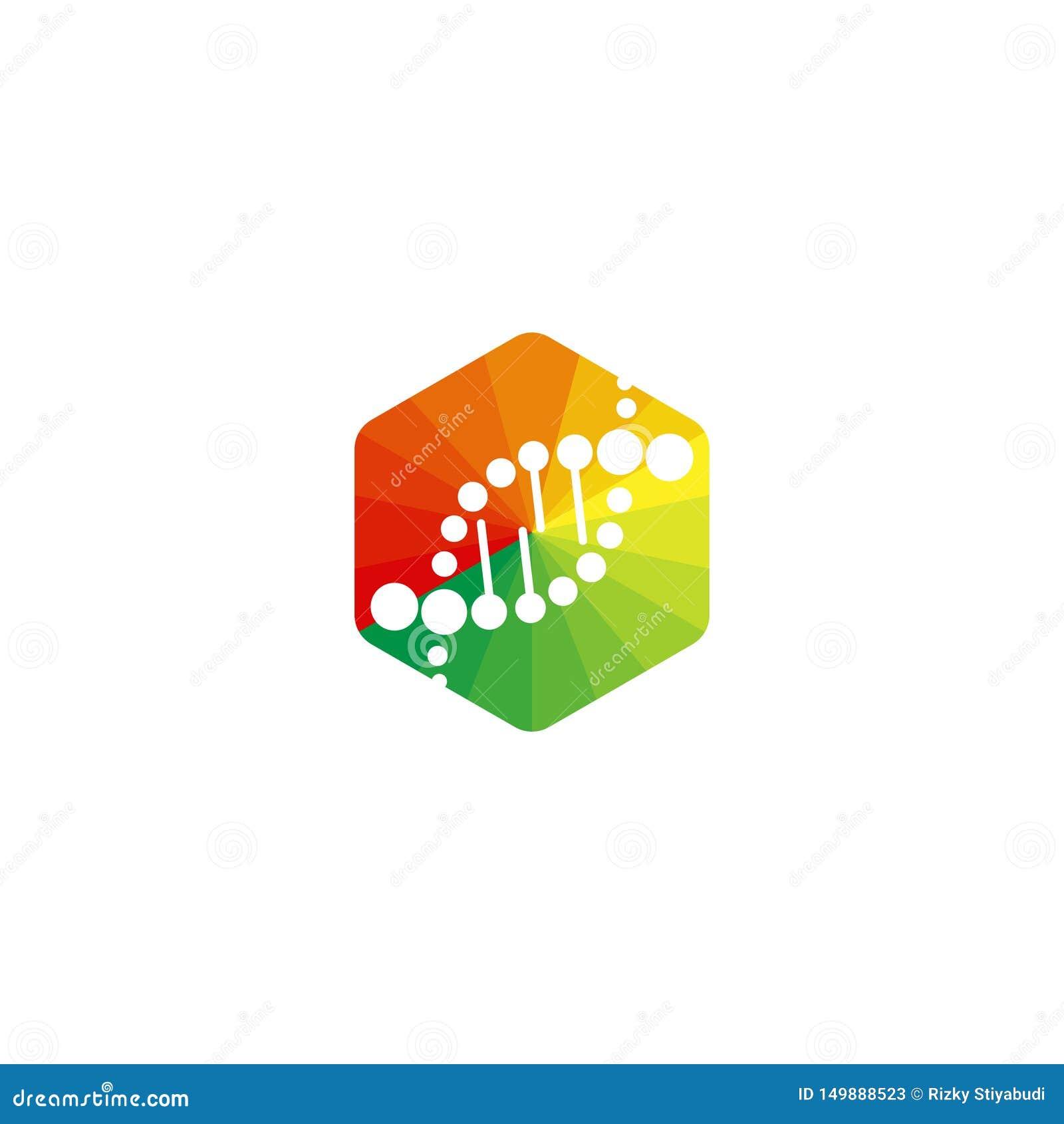 DNA logo, helix i sześciokąta wektoru ikona,