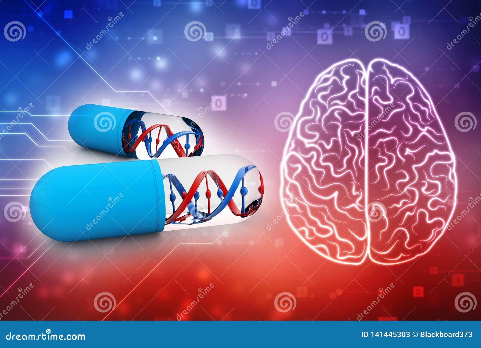 Dna med genetisk medicin, medicinskt teknologibegrepp 3d framför