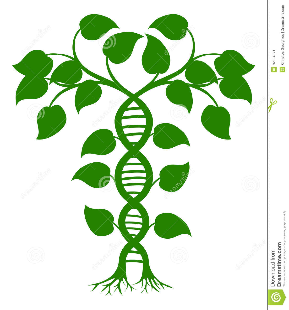 Green tree illustration with the trees or vines forming a DNA double ...