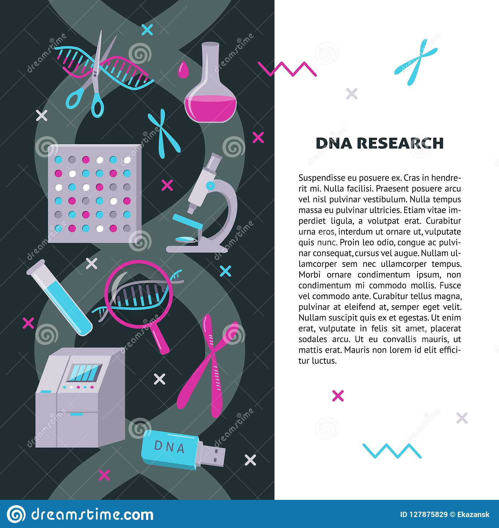dna research medical banner template in flat style stock vector