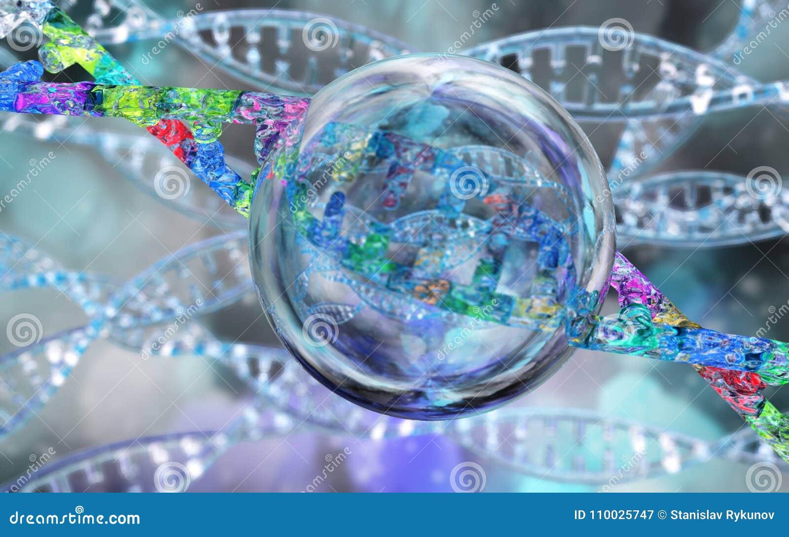 DNA-spiraal op een vage achtergrond