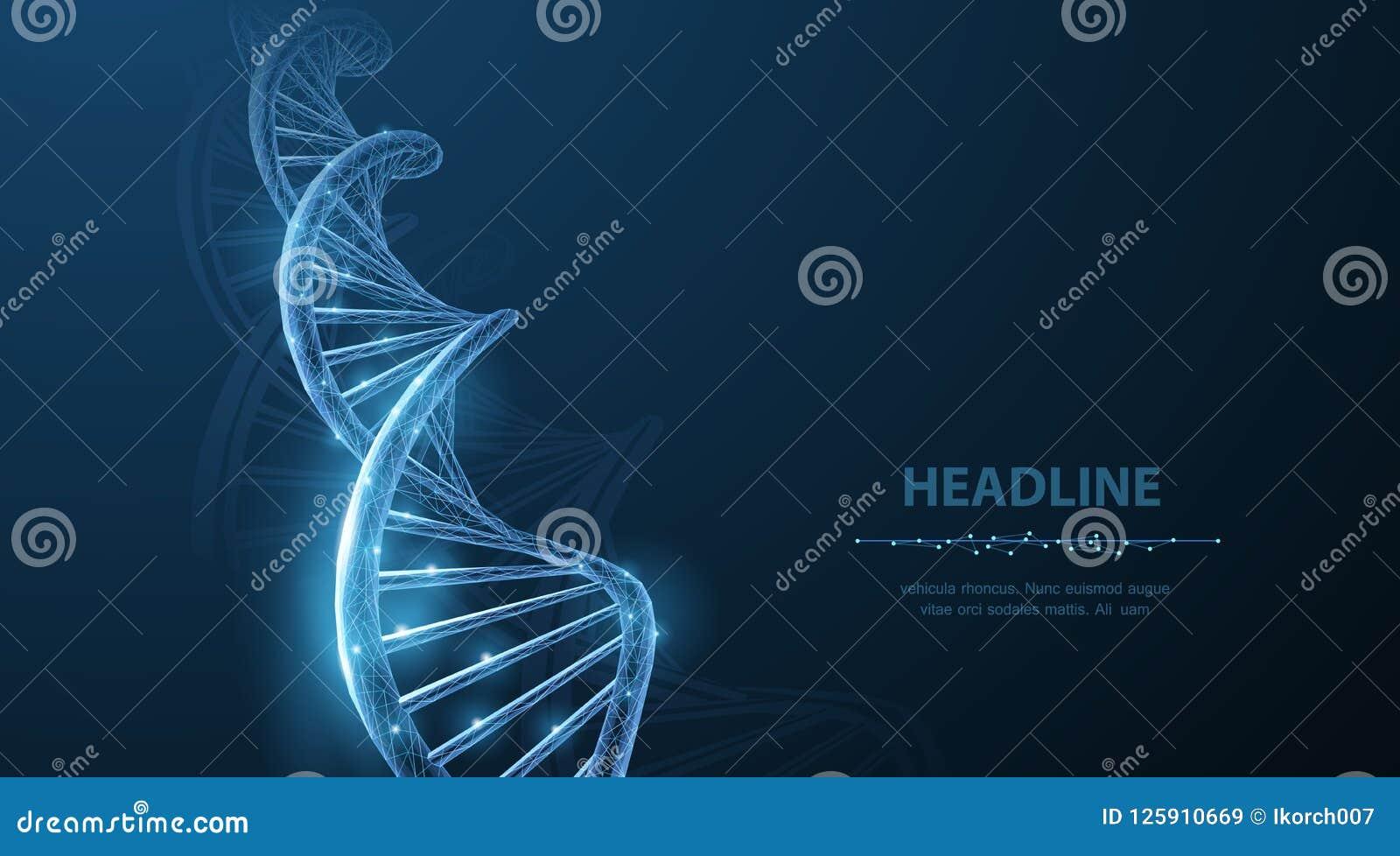 DNA Spirale poligonale astratta dell elica della molecola del DNA del wireframe 3d sul blu