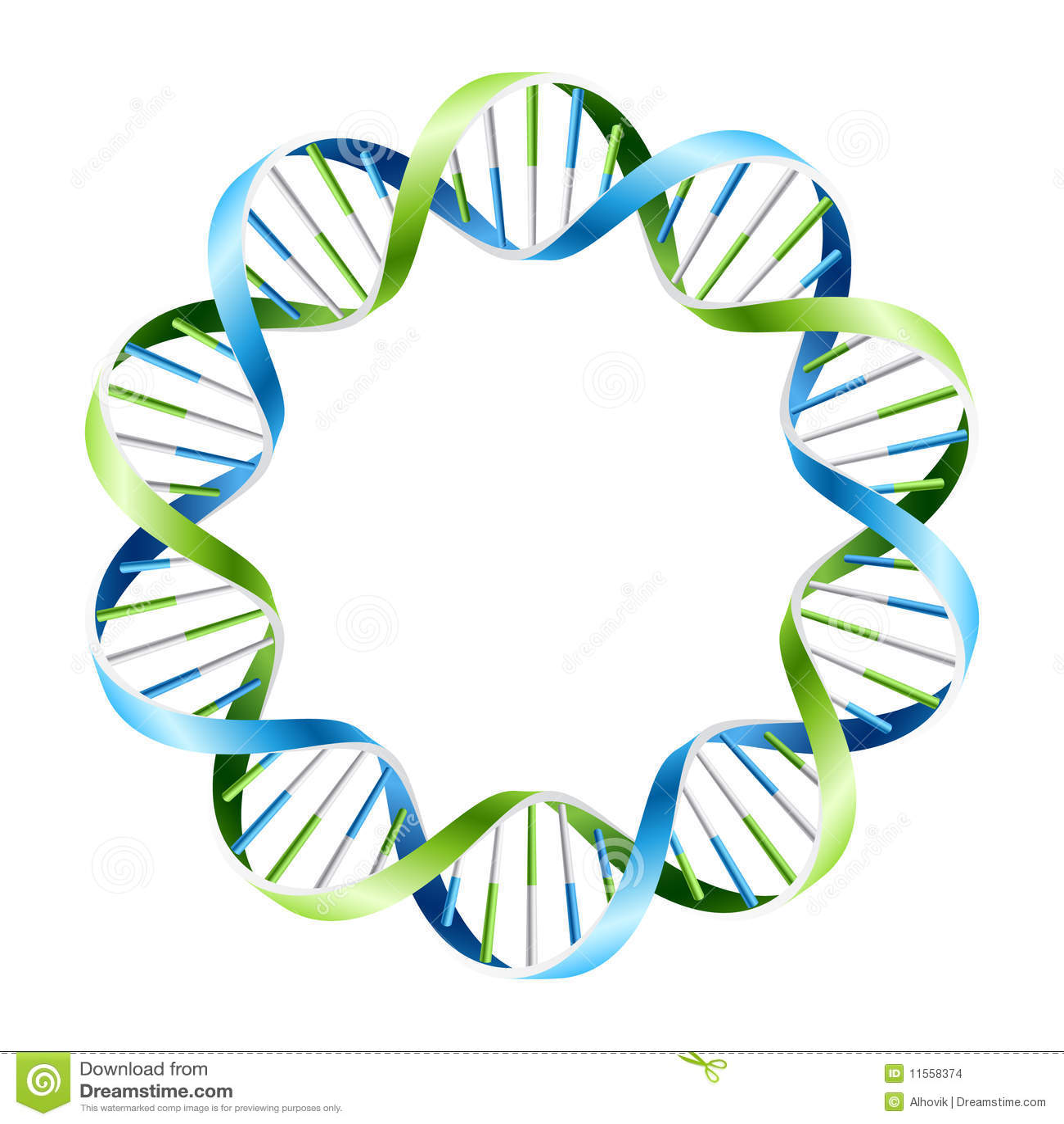 DNA-Stränge auf Kreis. Vektor.