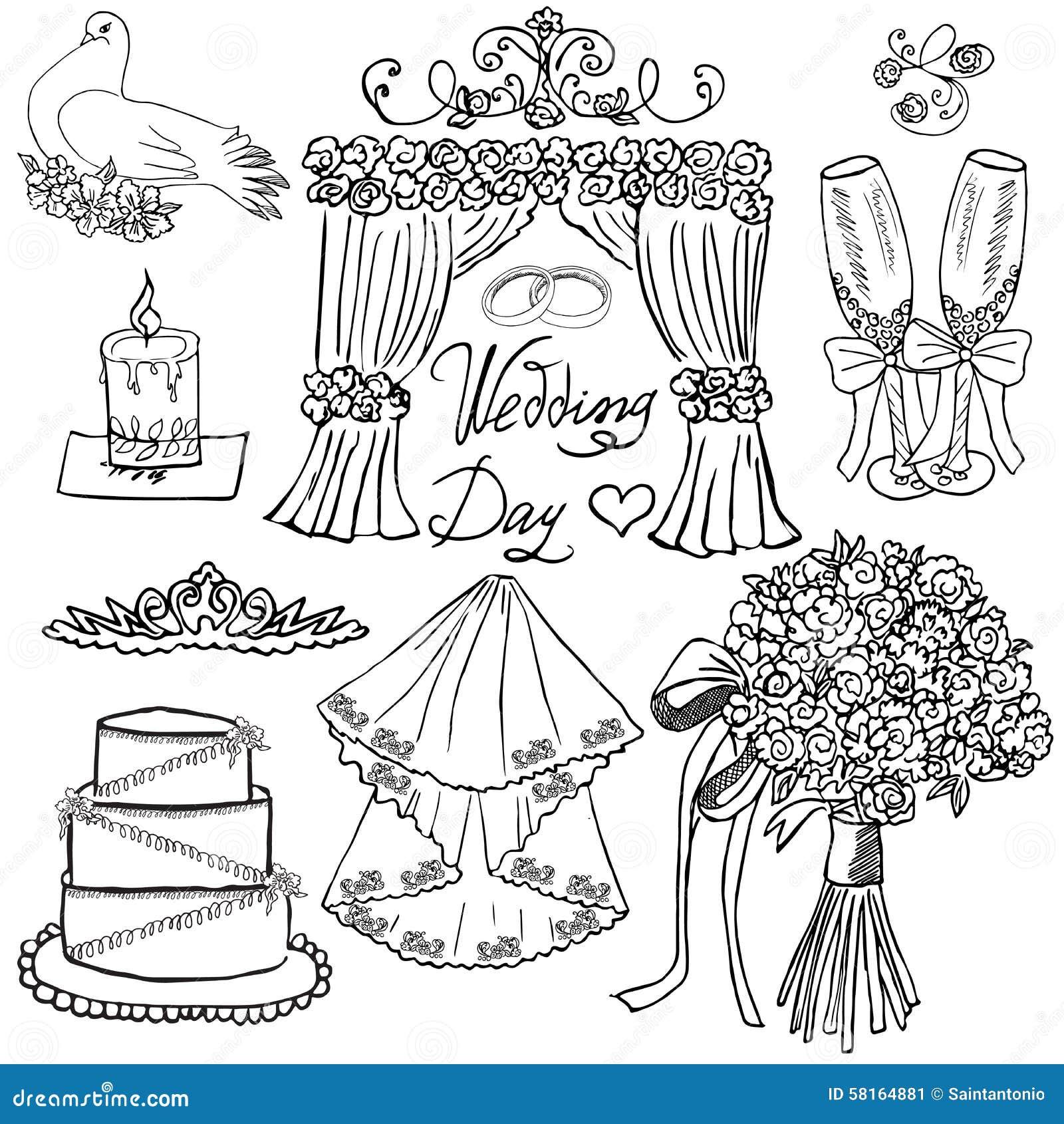 Dni ślubu elementy Wręcza rysującego set z kwiatami, świeczką, szkłami dla champaign i świątecznymi atrybutami, Rysunkowa doodle