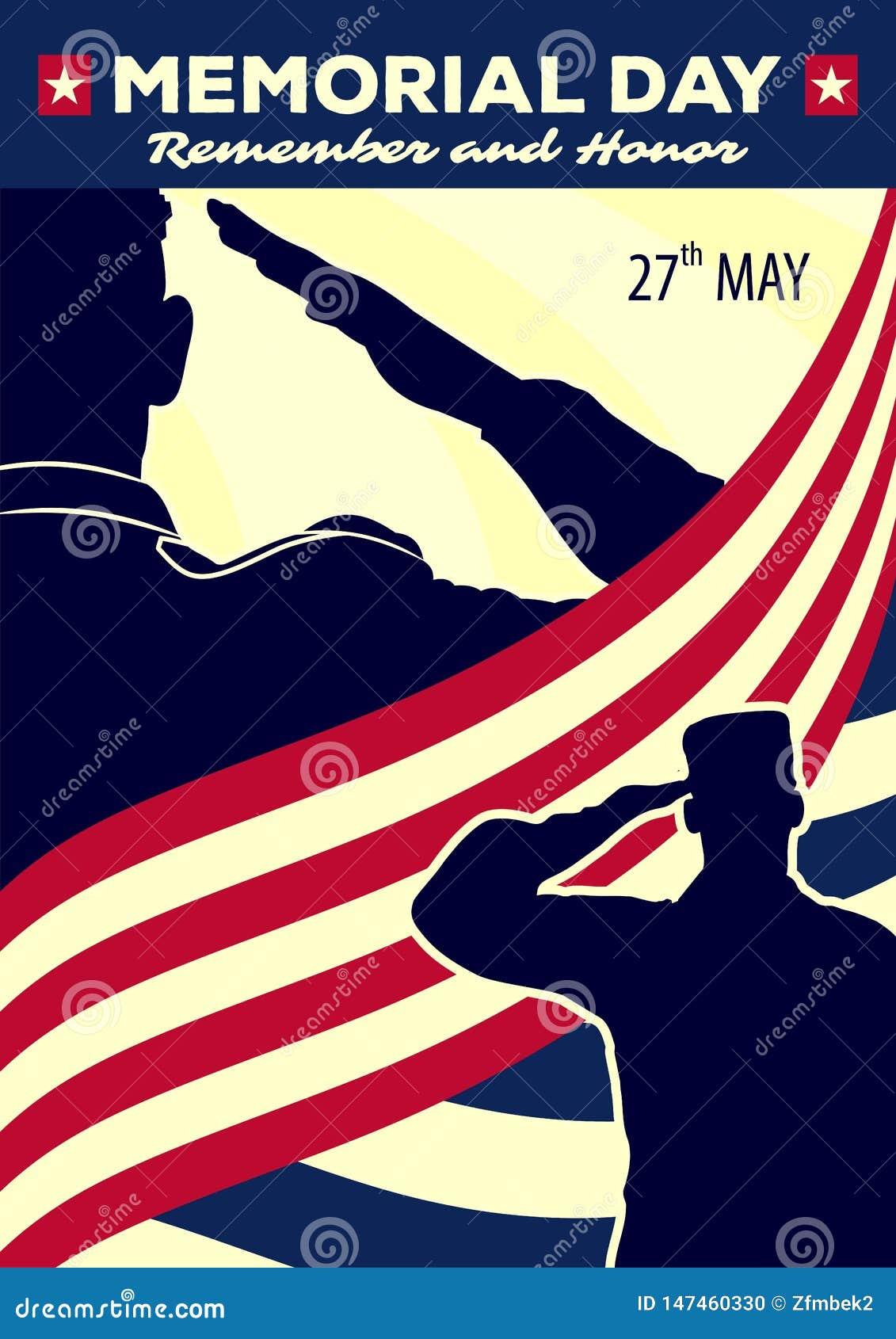 Dnia pami?ci plakata szablon wojsko USA ?o?nierze salutuje na flaga ameryka?skiej tle r?wnie? zwr?ci? corel ilustracji wektora