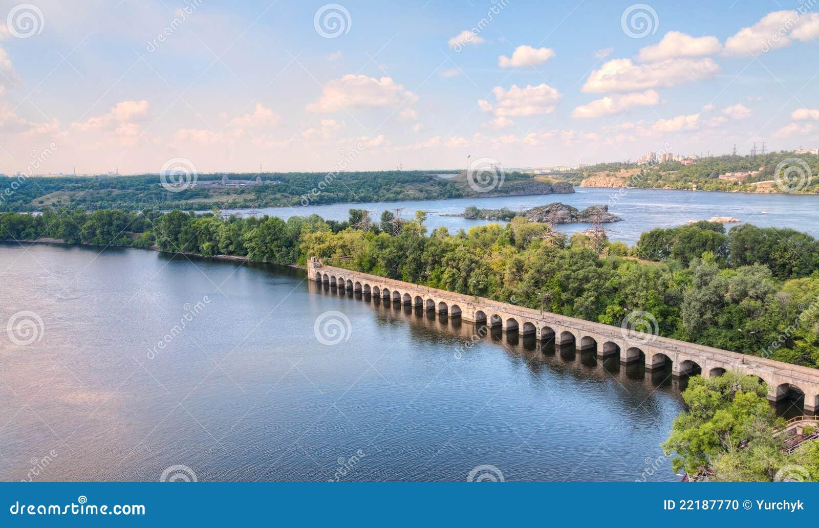 Dnieper river near zaporozhye city, ukraine