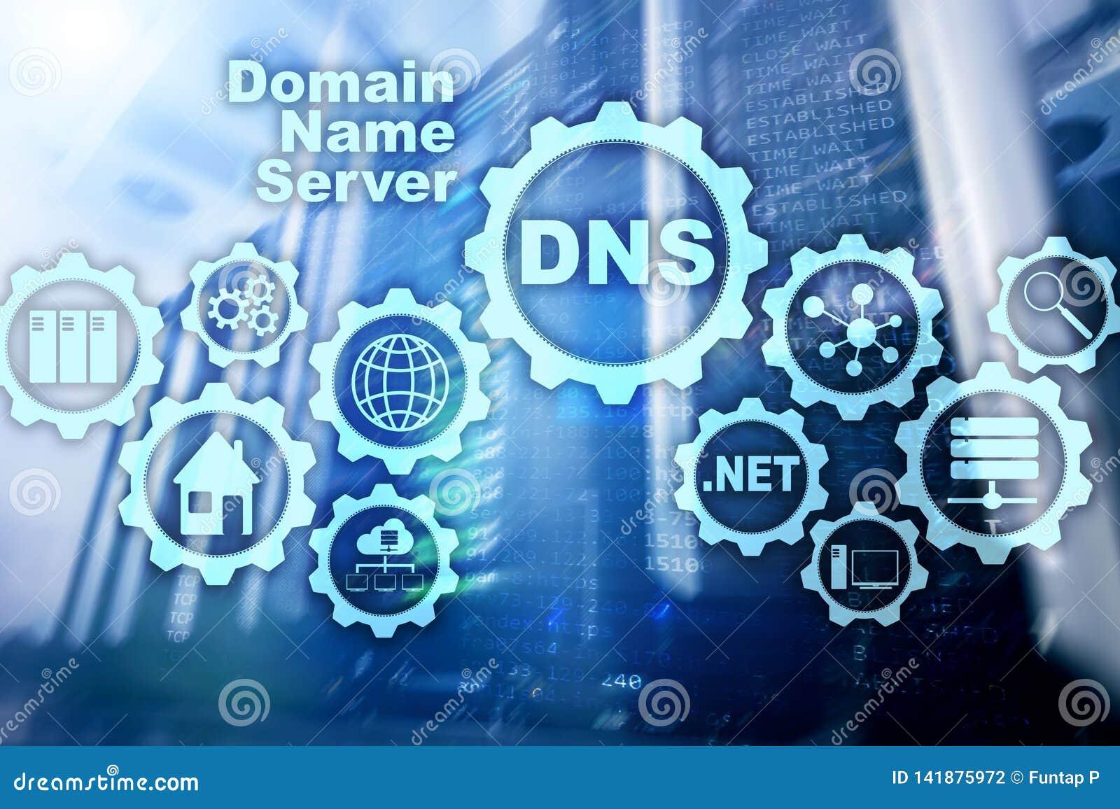 DNS Domain Name System Communication de Web de réseau Internet et concept de technologie numérique
