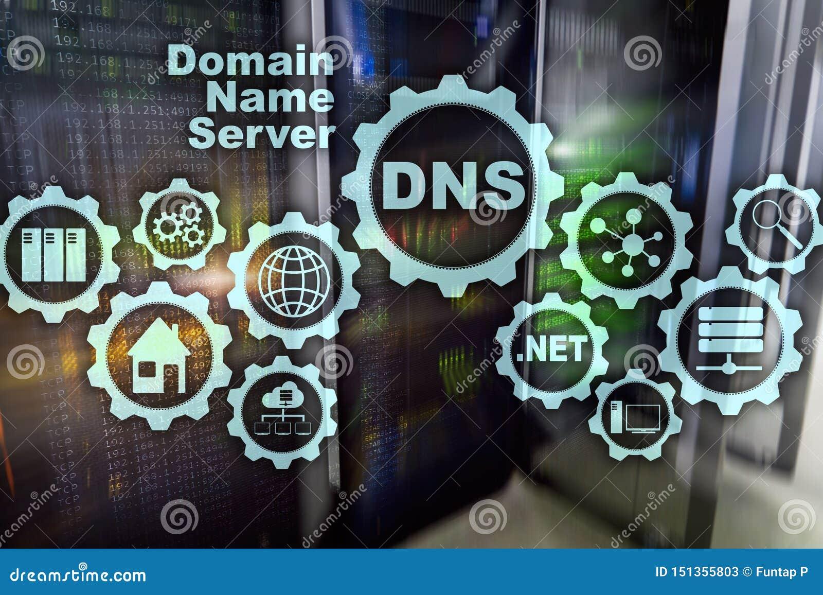 DNS Domeinnaamsysteem De Mededeling van het netwerkweb Internet en digitaal technologieconcept
