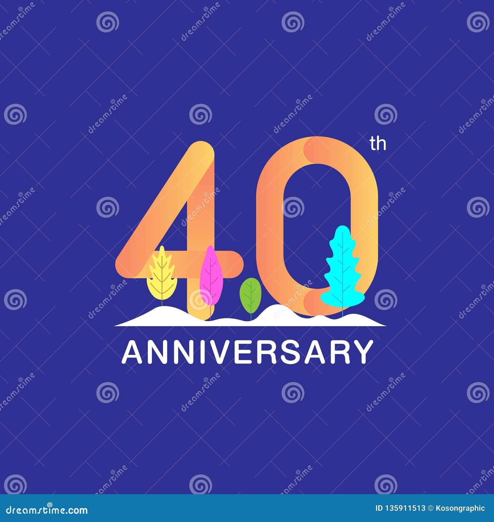 40 do aniversário anos de logotype da celebração Número multicolorido com folha e fundo modernos da neve Projeto para a brochura,