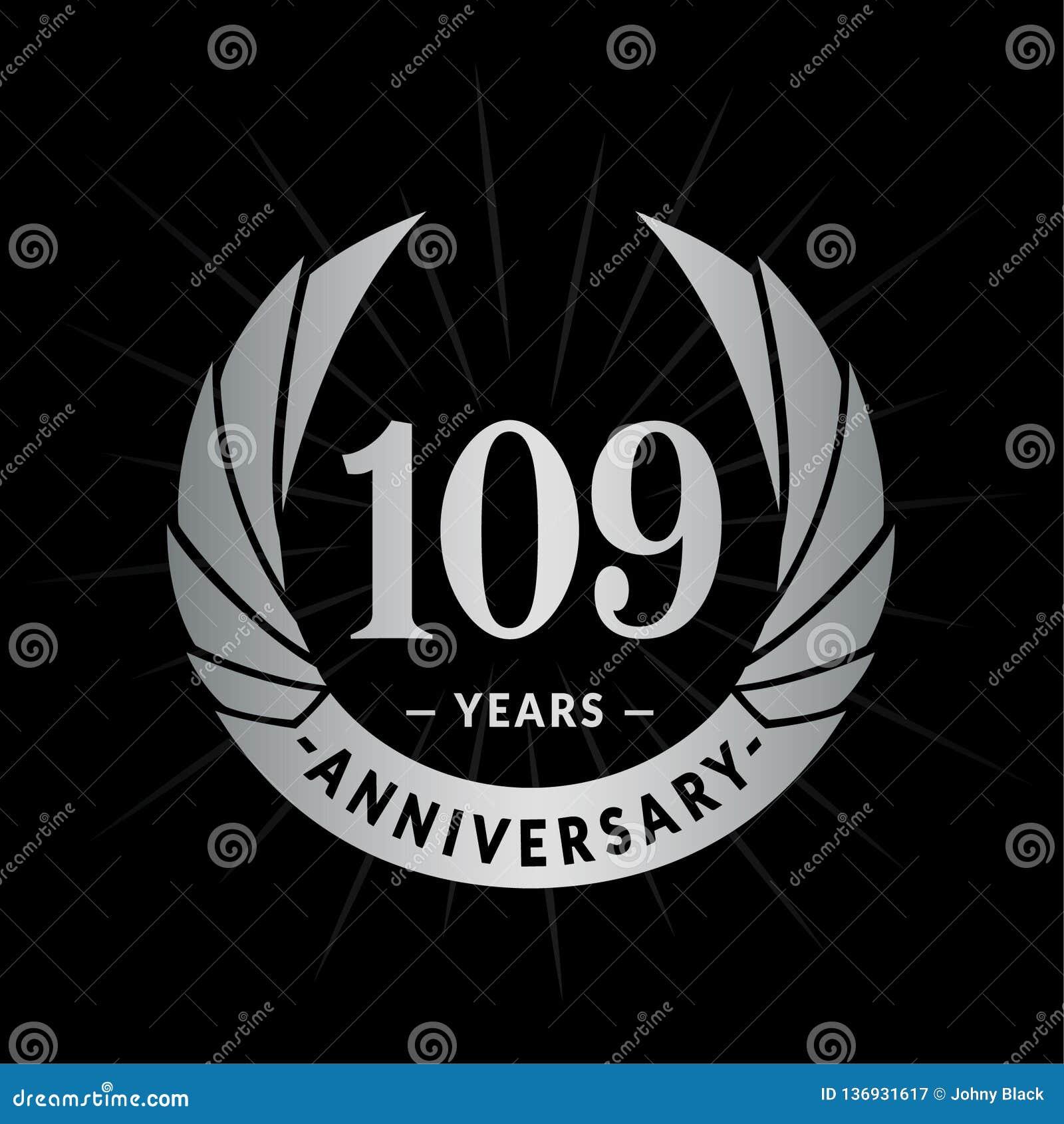 109 do aniversário anos de molde do projeto Projeto elegante do logotipo do aniversário 109 anos de logotipo