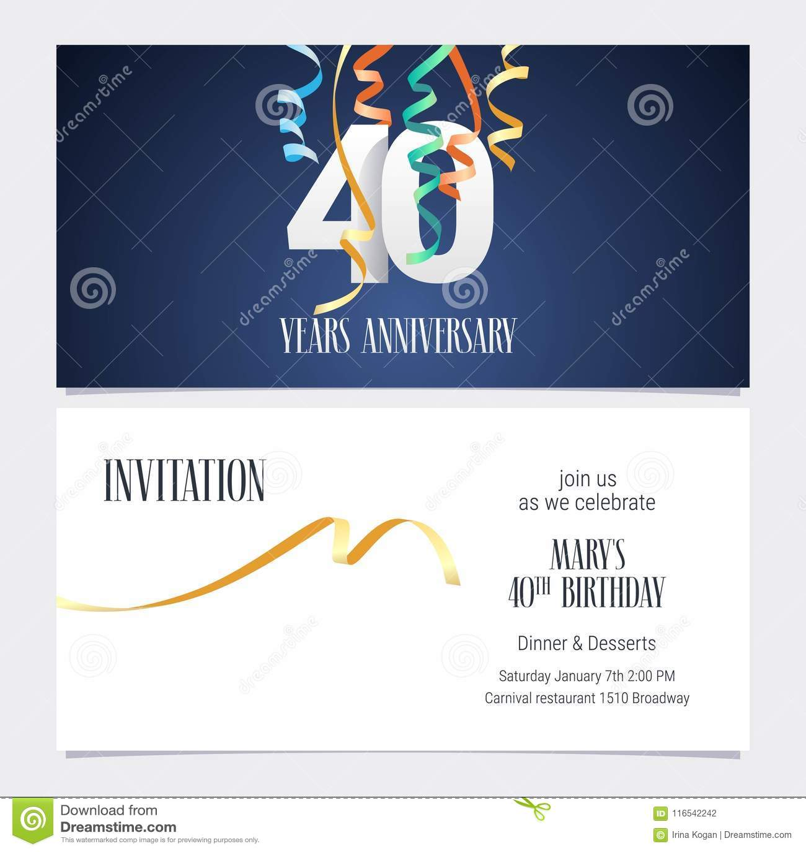 40 Do Aniversário Anos De Vetor Do Convite Ilustração Do Vetor
