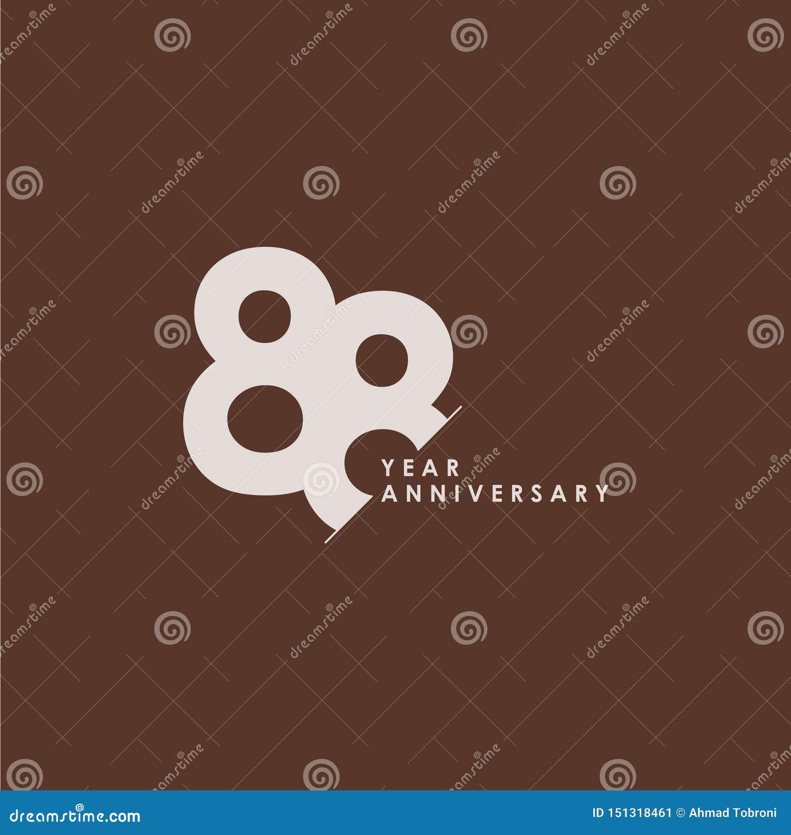 88 do aniversário da celebração do vetor do molde anos de ilustração do projeto