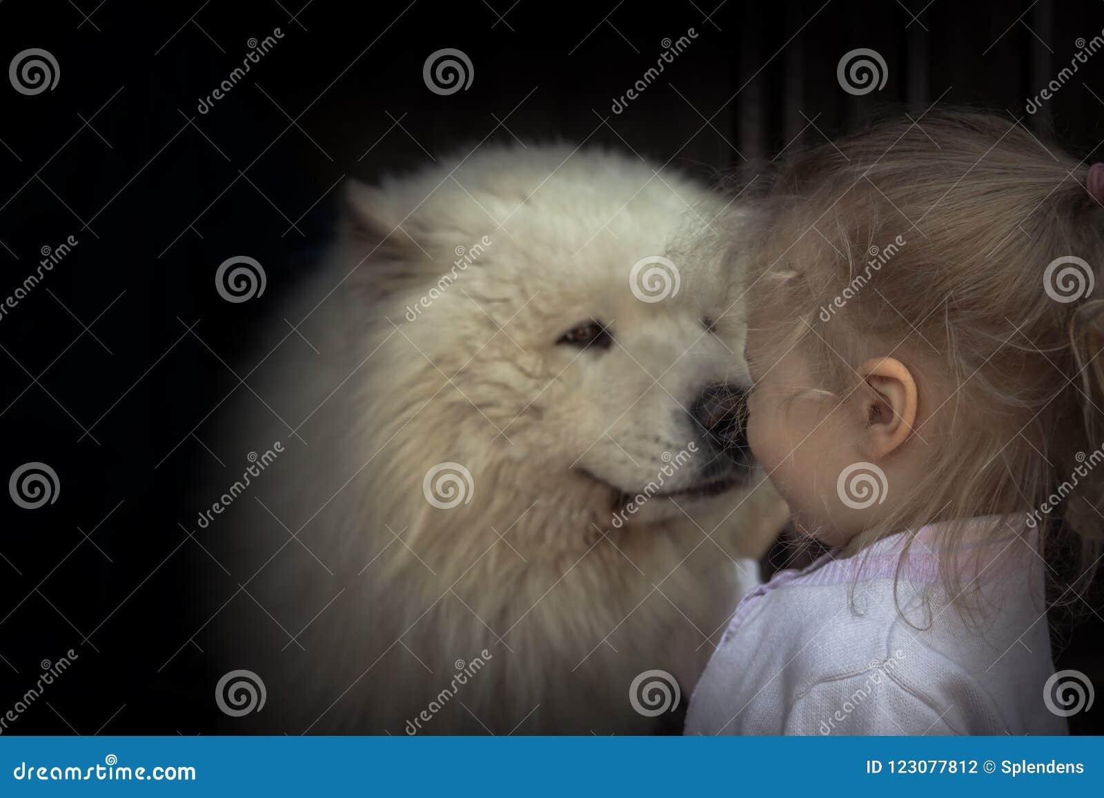 Do conceito ronco do animal doméstico do cuidado do cão de cachorrinho da criança da criança bondade animal da amizade do cuidado