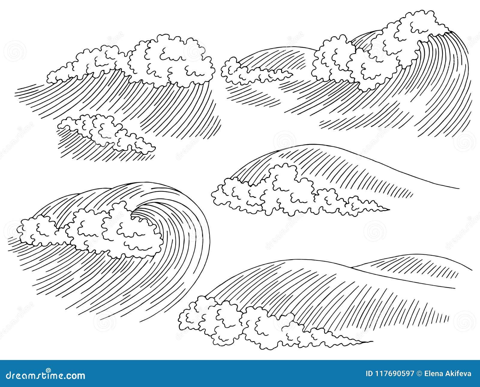 Do esboço branco gráfico do seascape do preto da ressaca da onda do mar vetor ajustado da ilustração