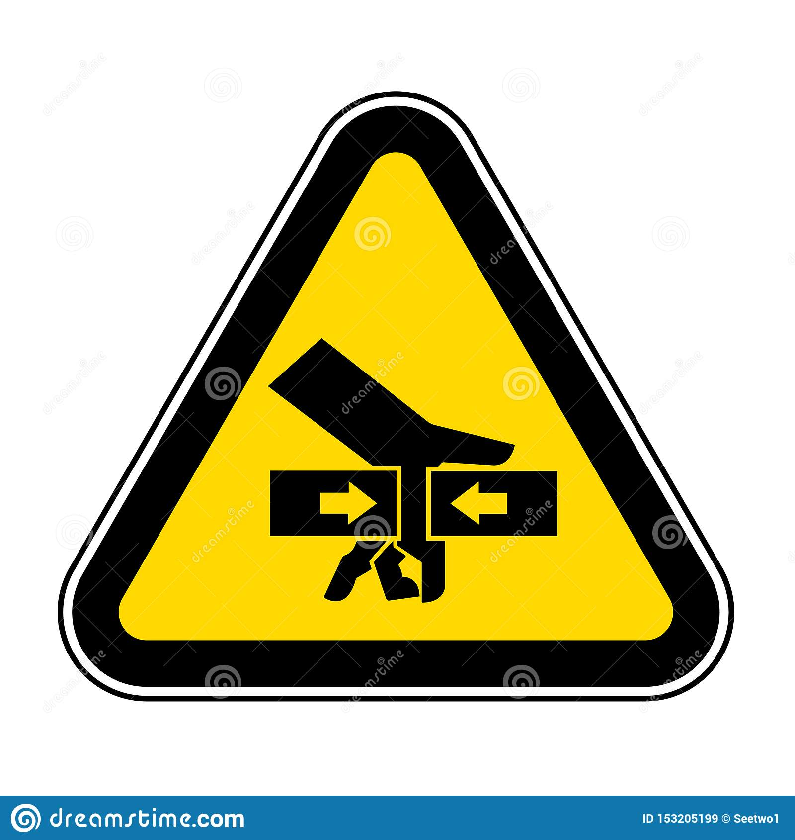 For?a do esmagamento da m?o do sinal do s?mbolo de dois lados, ilustra??o do vetor, isolado na etiqueta branca do fundo EPS10