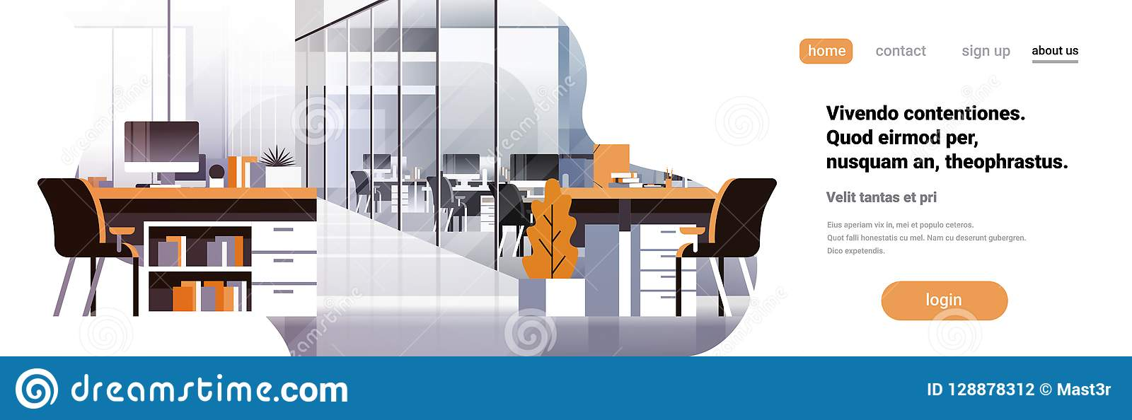 Do espaço horizontal criativo center moderno interior da cópia da bandeira do ambiente do local de trabalho do escritório de Cowo
