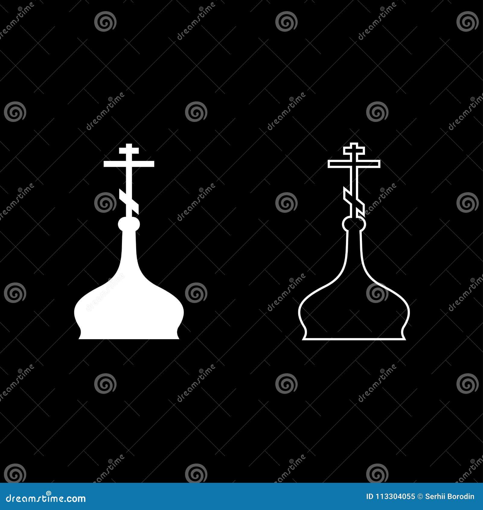 Do estilo liso branco ajustado da ilustração de cor do ícone da igreja do ortodox da cúpula imagem simples