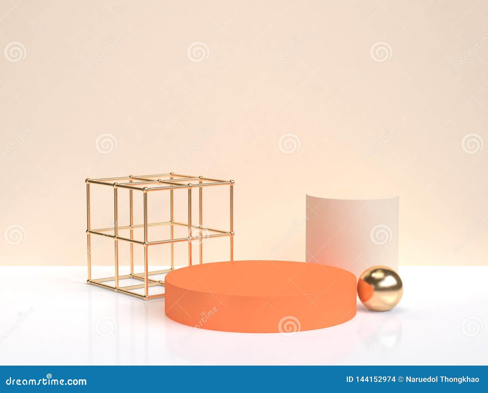 Do formulário geométrico alaranjado abstrato mínimo da forma do ouro da rendição 3d cena de creme branca