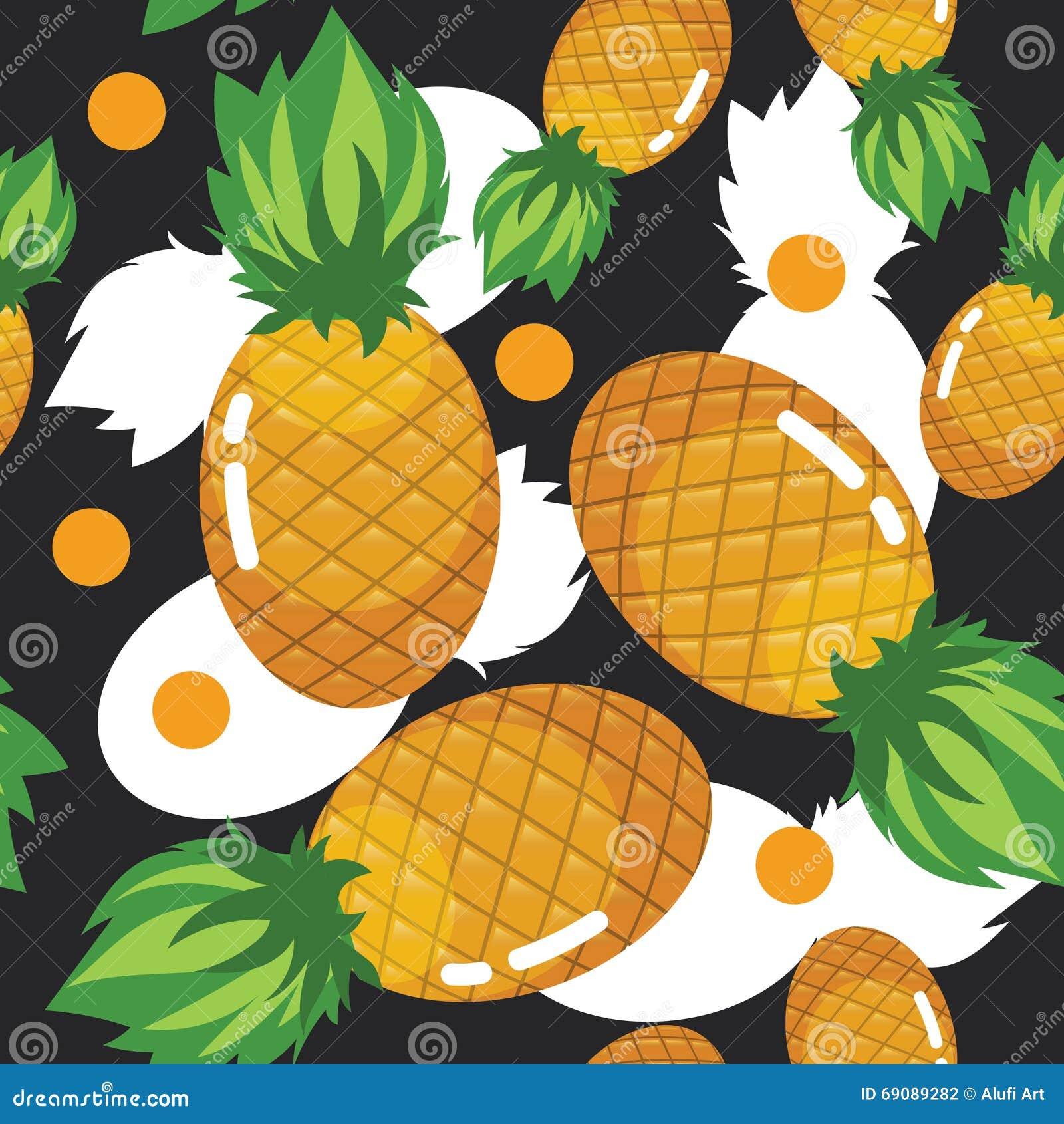 Do fruto fresco do abacaxi de Colorfull do verão teste padrão sem emenda