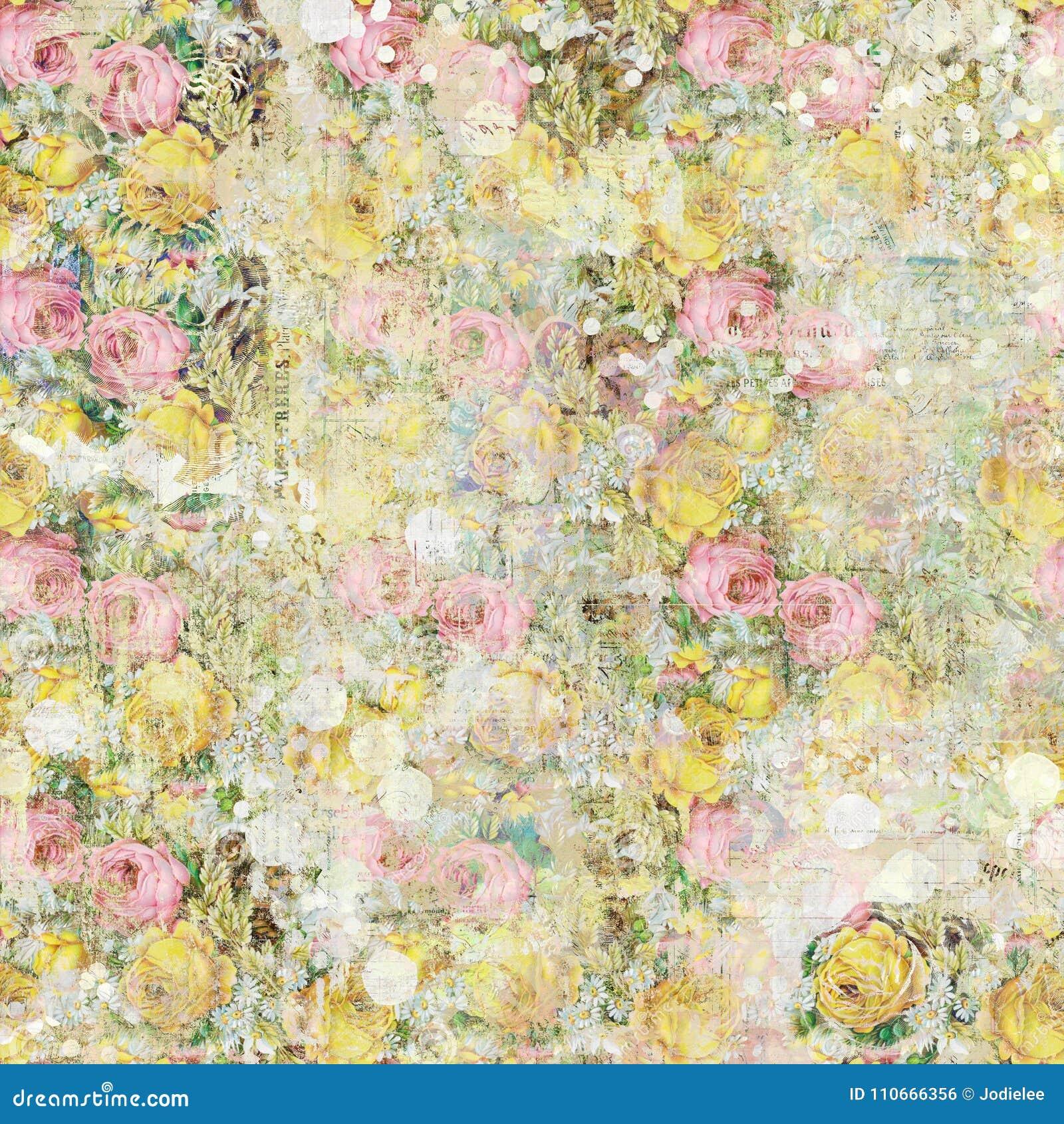 Do fundo floral das rosas do vintage teste padrão sem emenda pintado gasto