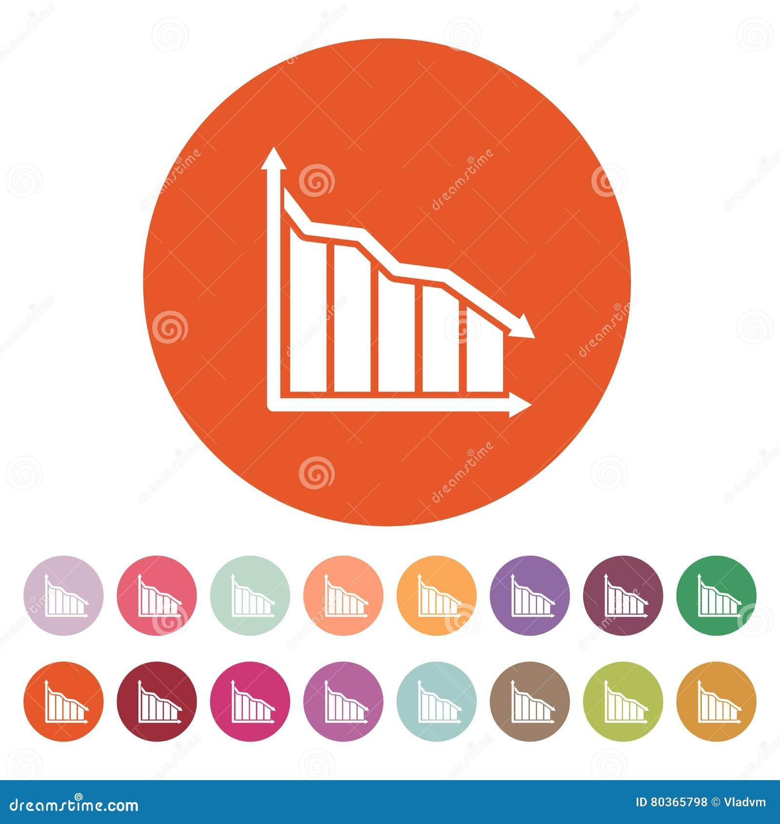 Do gráfico o ícone para baixo Carta abaixo e perda, símbolo da redução liso