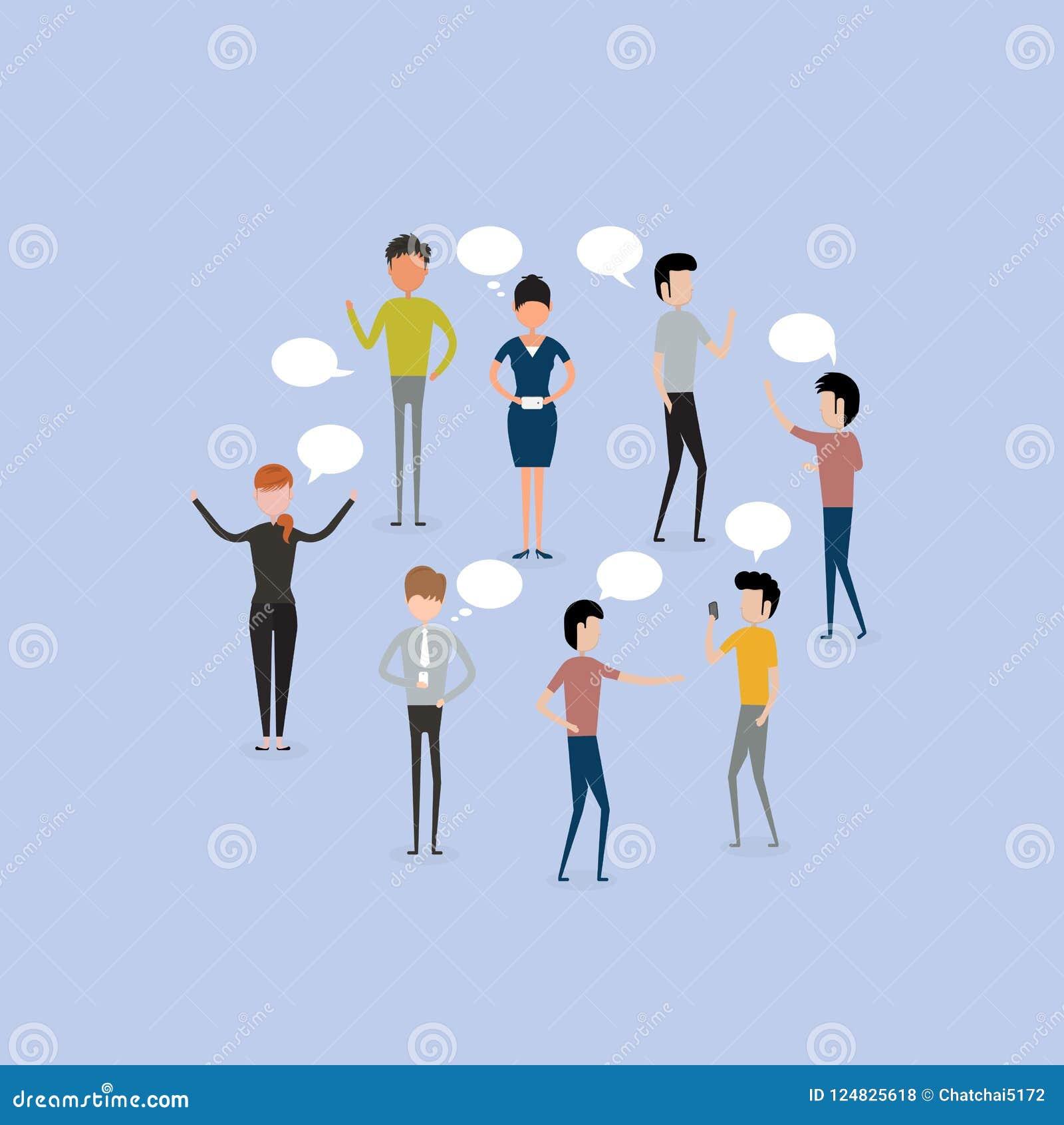 Do grupo do bate-papo executivos da bolha de uma comunicação Ilustração do JPG + do vetor