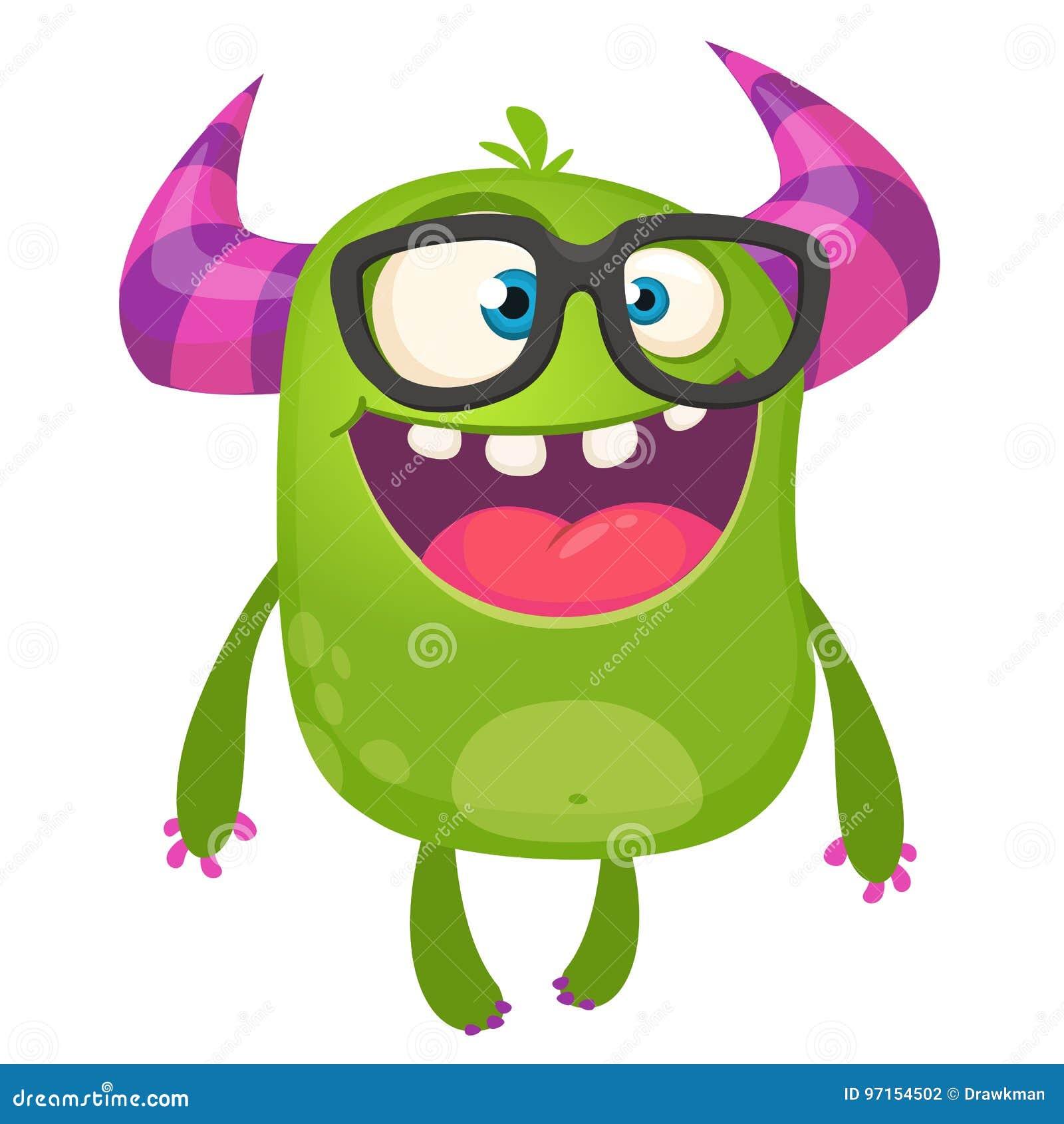 Do lerdo verde do monstro dos desenhos animados vidros vestindo Ilustração do vetor isolada