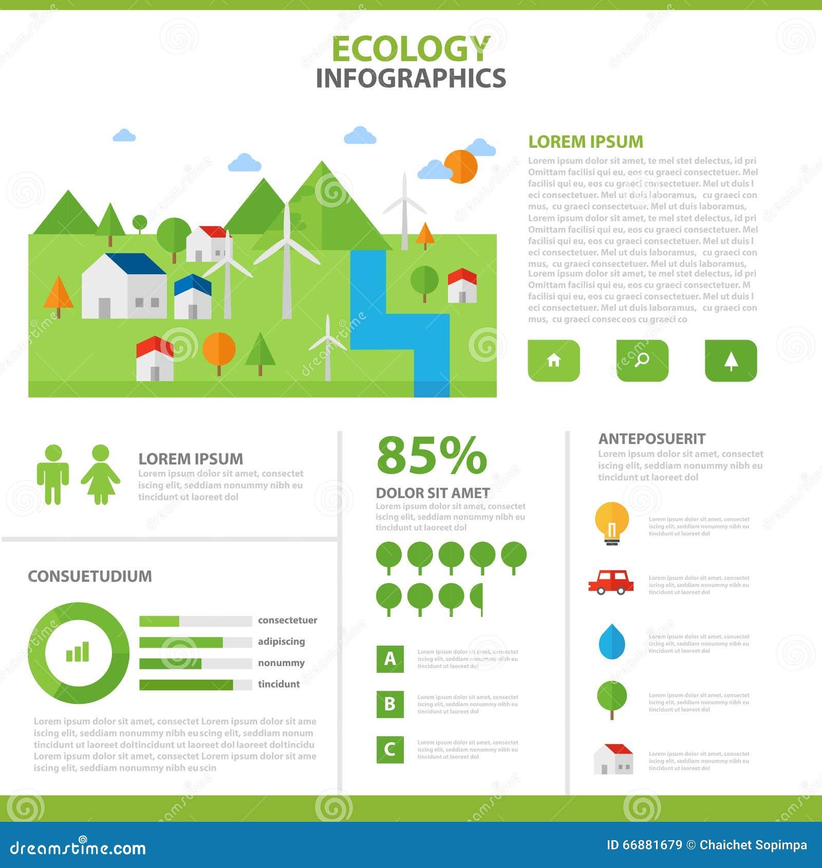 Do molde infographic da disposição dos elementos da ecologia grupo liso do projeto, disposição dos moldes da apresentação da ecol