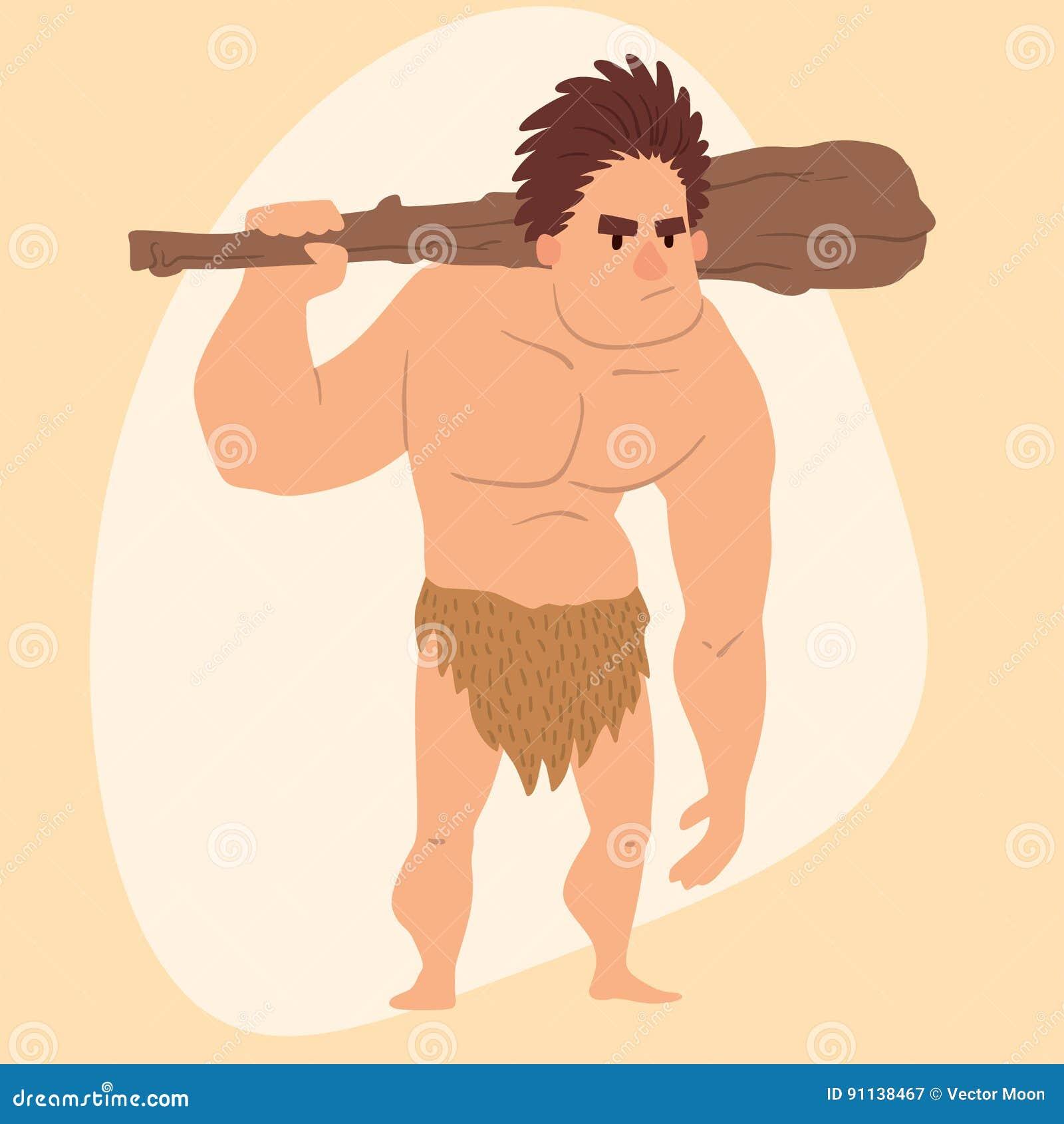 Do Neanderthal Primitivo Do Homem Dos Desenhos Animados Da Idade