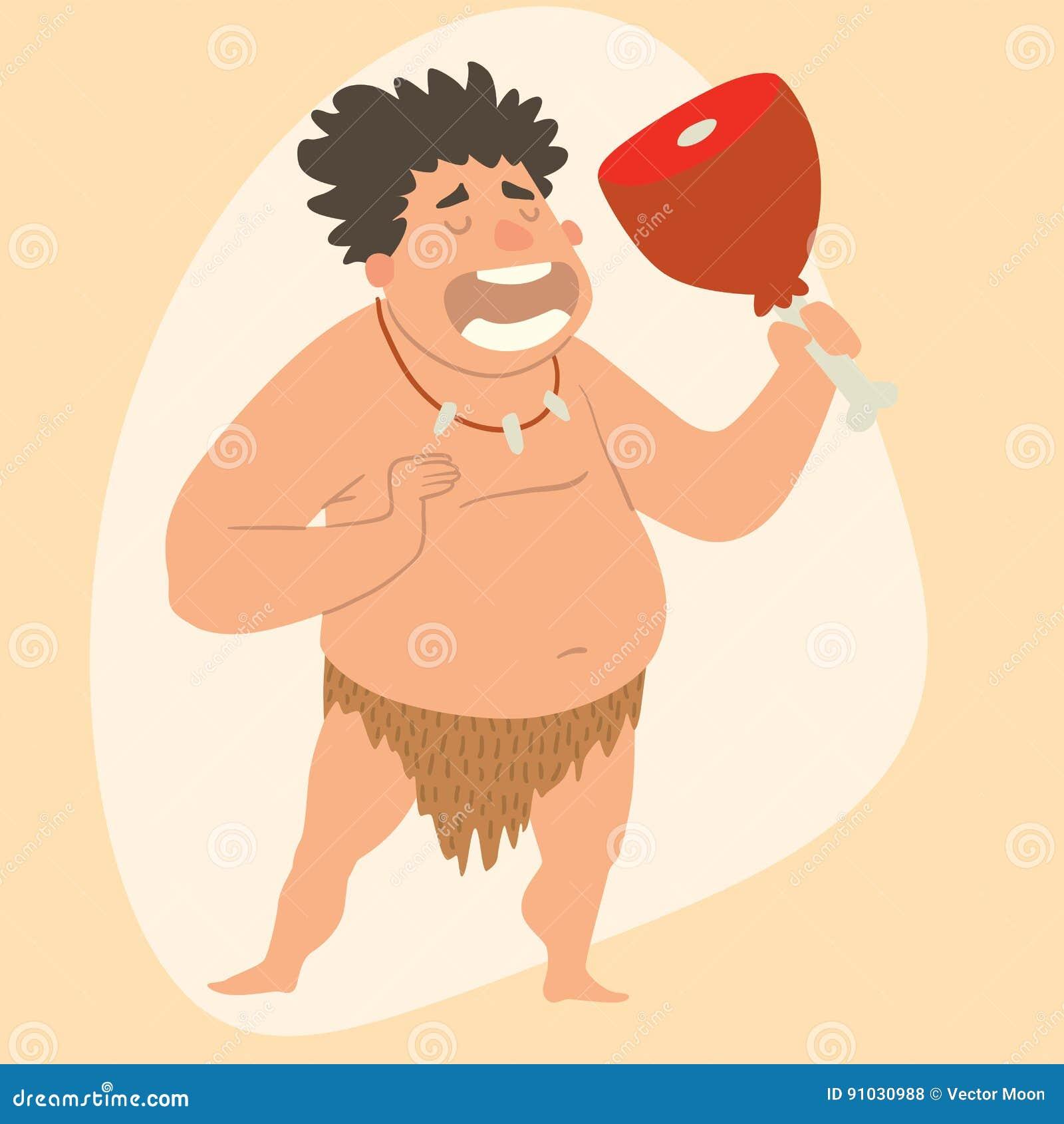 Do Neanderthal Primitivo Dos Desenhos Animados Do Homem Da Idade