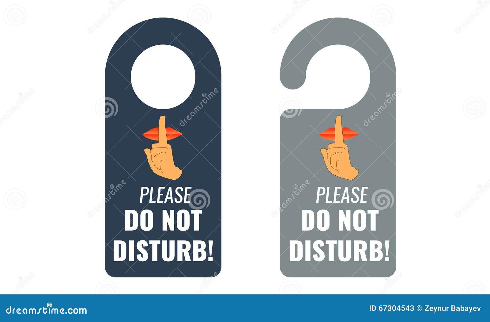 ... disturb. Door hanger. Keep quiet and shhh sign. Illustrated Vector