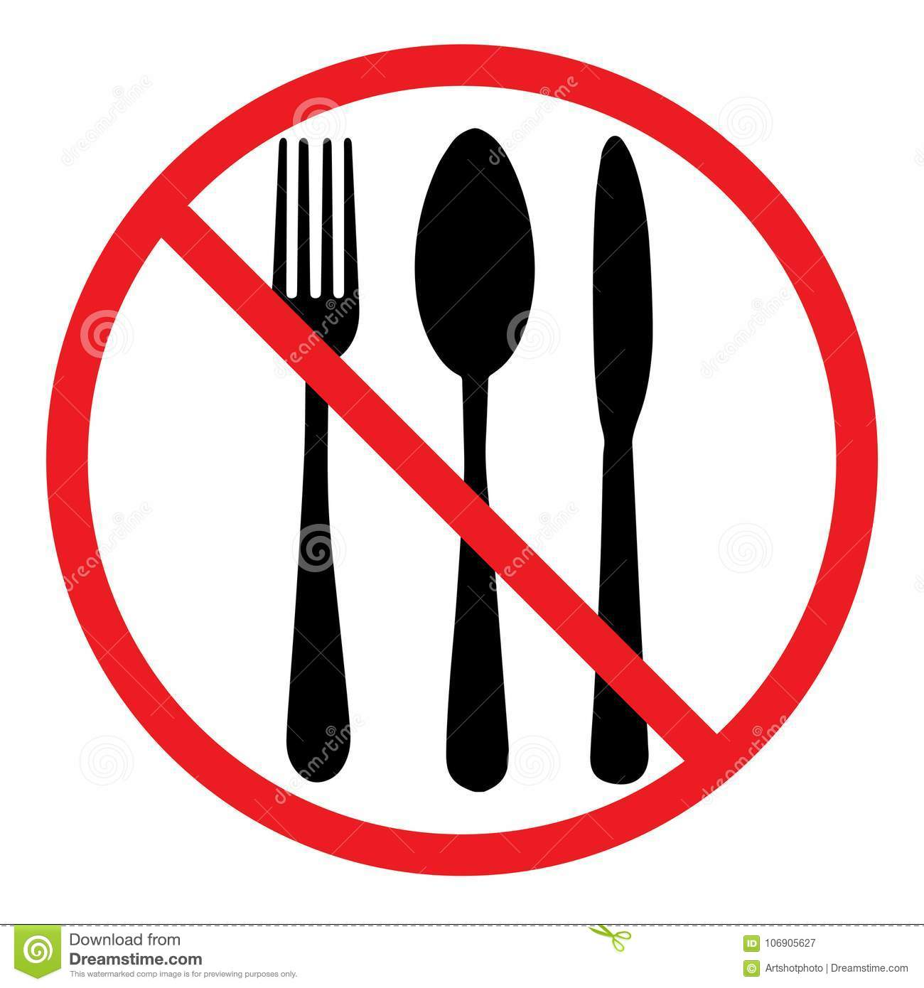 Do Not Eat Icon Cutlery Symbol Knife Spoon And Fork No Food Sign