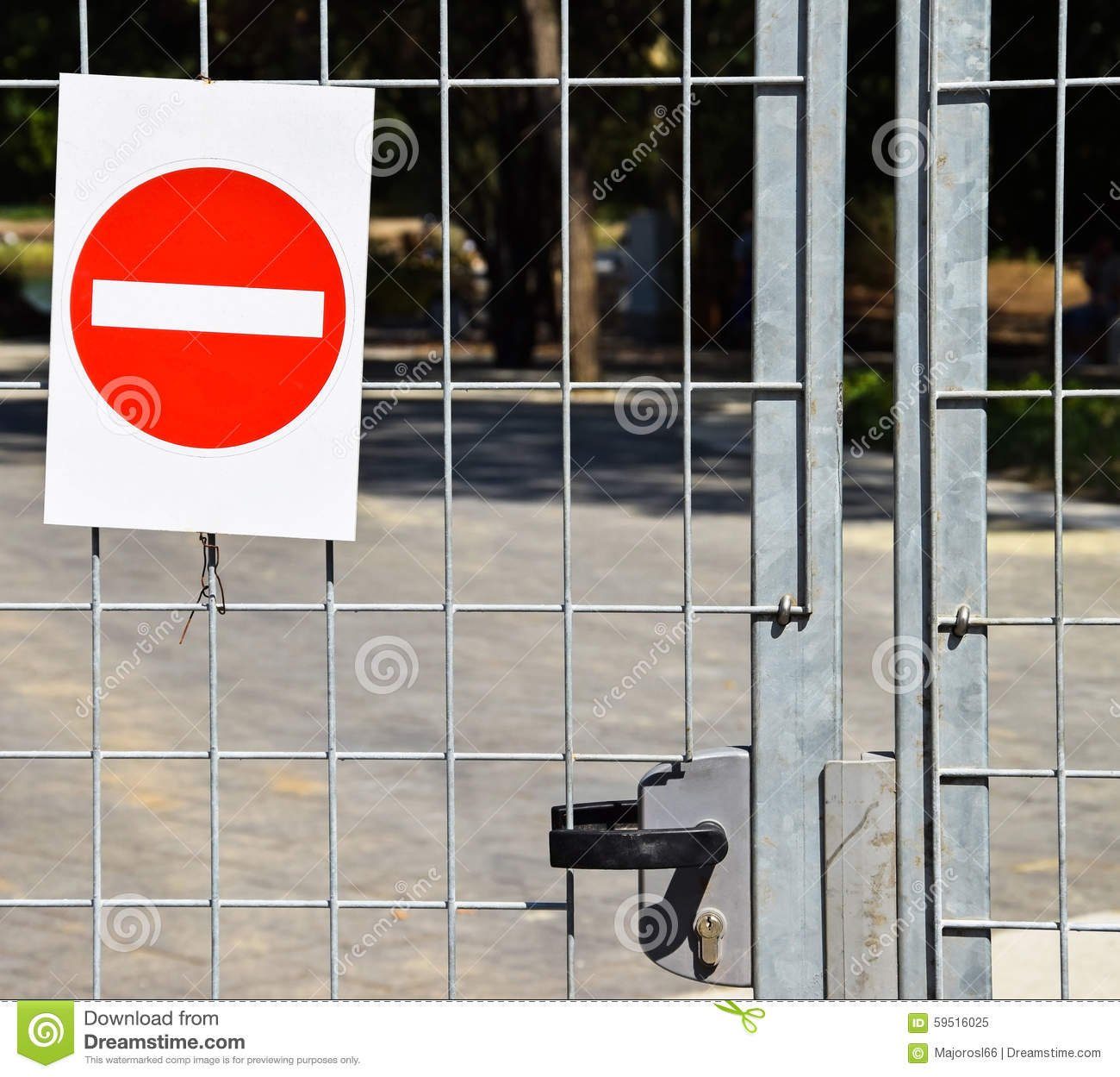 Download Do Not Enter Sign On A Metal Fence Stock Image - Image of construction, next: 59516025