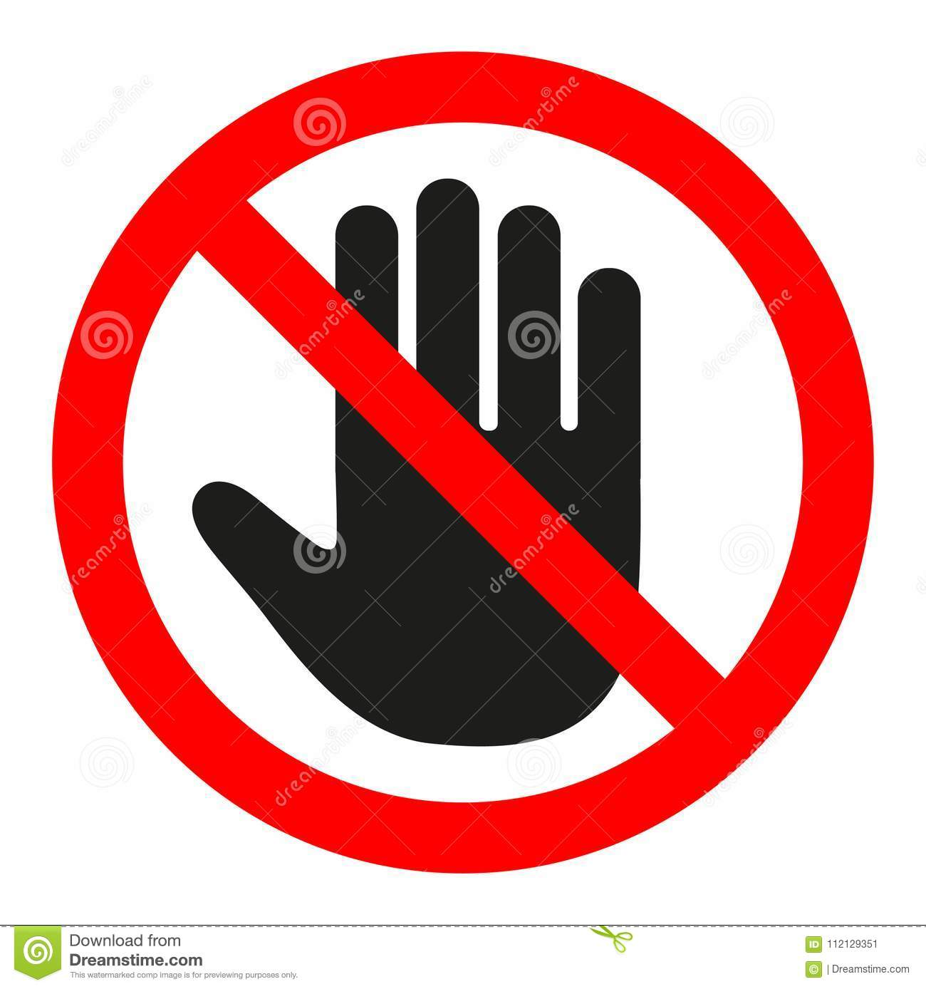 Do Not Enter Stop Red Sign With Hand Stock Vector ...