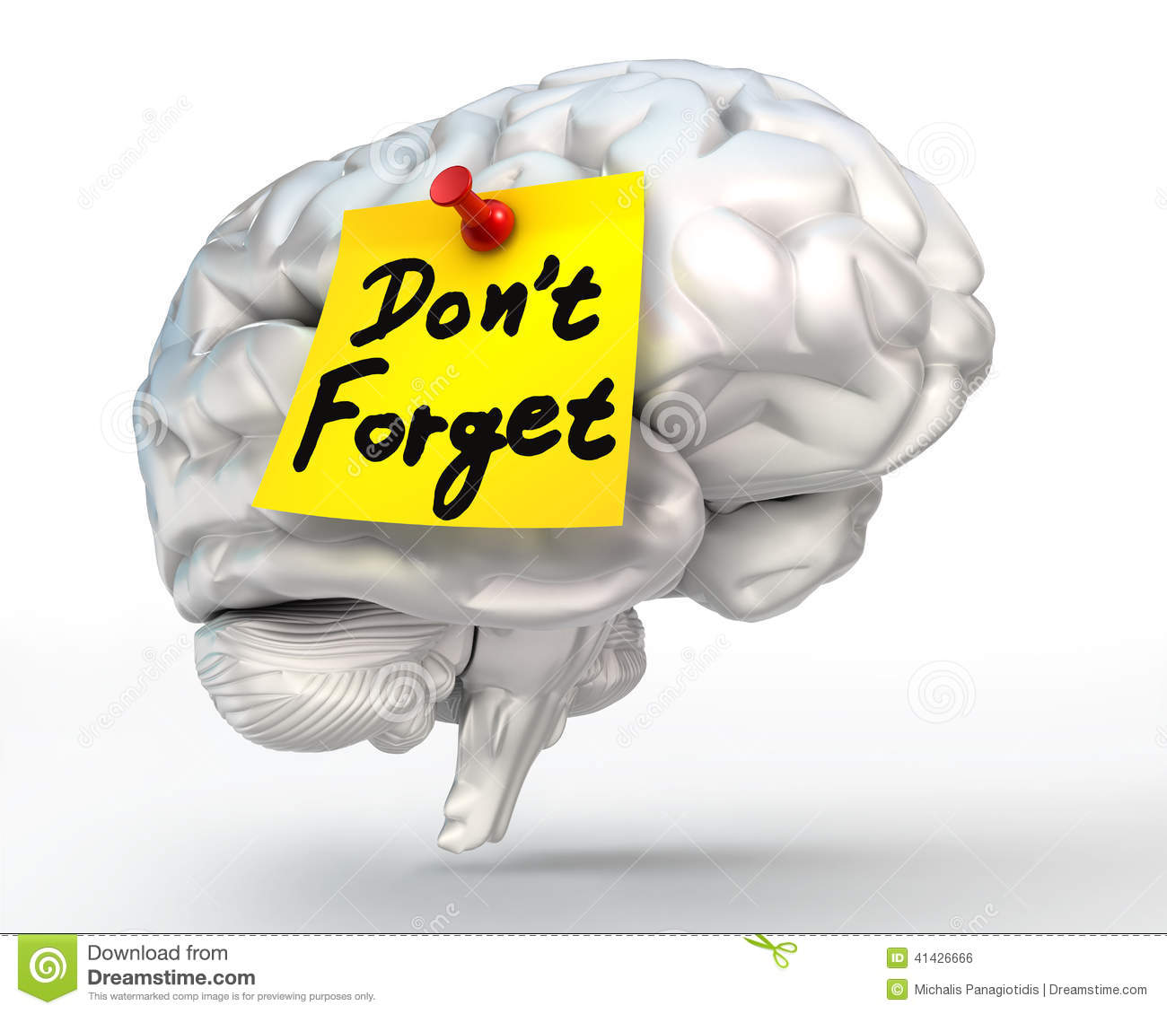 Do not forget reminder yellow note on brain conceptual image, clipping ...