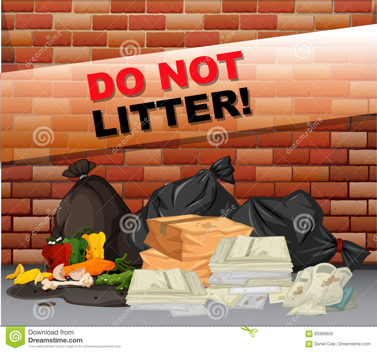 Do Not Litter Sign And Many Trash Vector Illustration