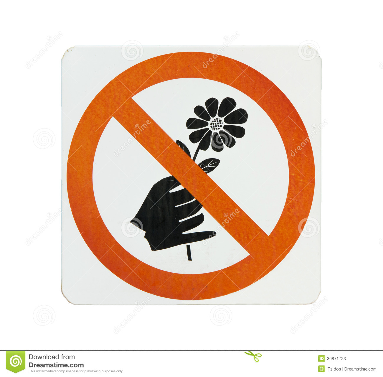 Do not pick flower sign orange cycle color on white background stock