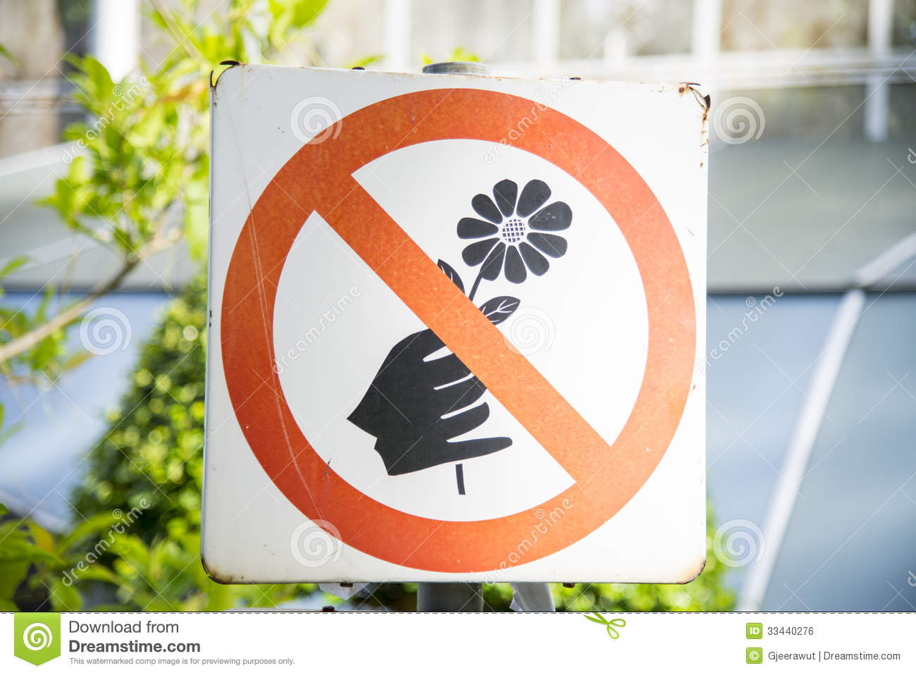 do not pick the flowers sign royalty free stock image