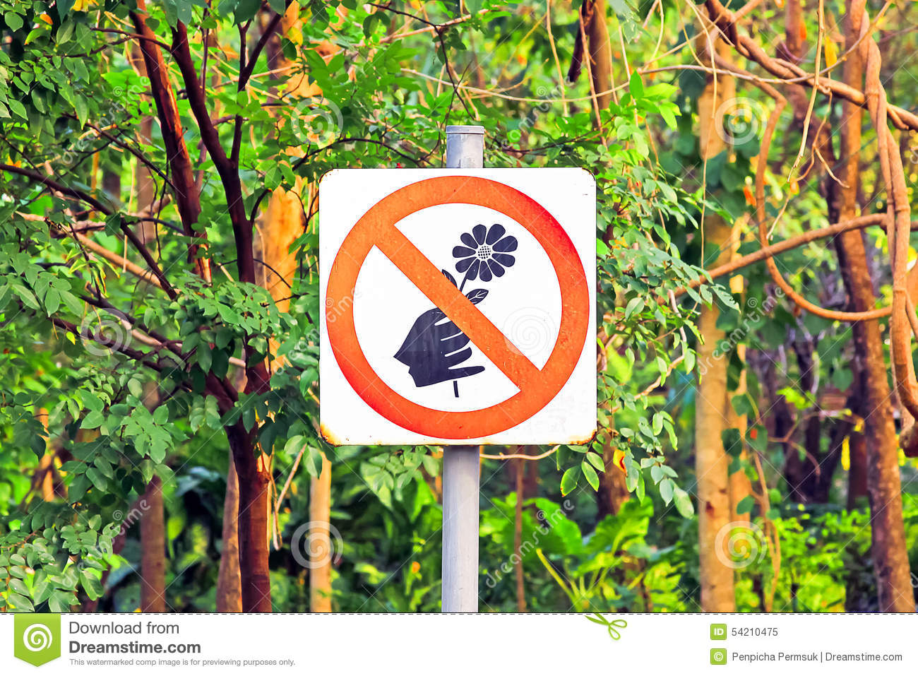 Do Not Pick The Flowers Sign Stock Photography