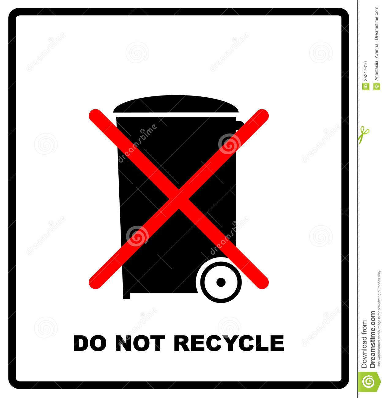 Do Not Recycle Sign Do Not Throw In Trash Recycle Bin Sign Icon