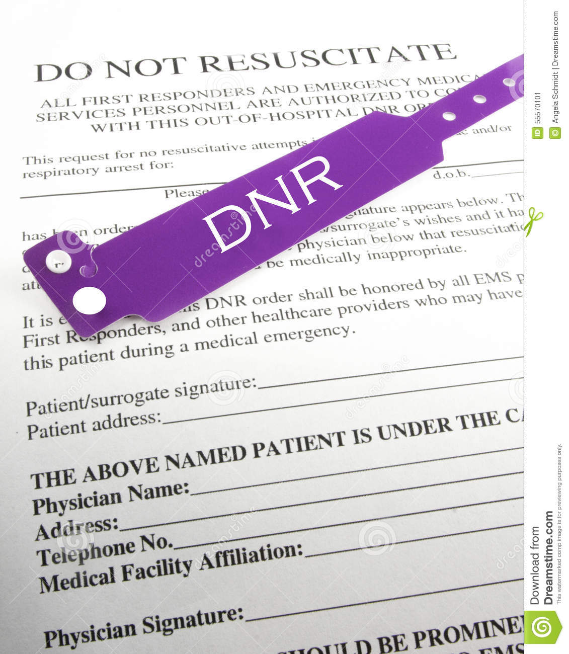 Do Not Resuscitate Information Stock Image - Image of form, white ...